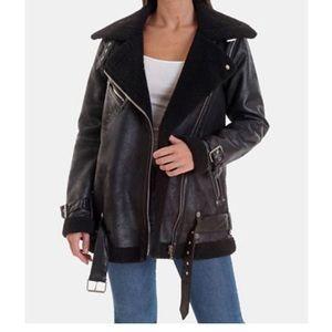 NWT Avec Les Filles faux shearling Moto  jacket
